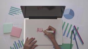 O papel posto mulher no portátil e escreve a AUDITORIA Desktop do negócio com diagramas filme