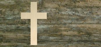 O papel transversal cristão cortou o símbolo de madeira da cristandade do fundo fotos de stock