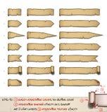 O papiro etiqueta horizontal - sete projetos por três tamanhos Imagem de Stock Royalty Free