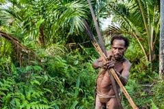 O Papuan de um tribo de Korowai aponta para tiros um arqueiro Kombai de Korowai (Kolufo) com curva e setas fotografia de stock royalty free