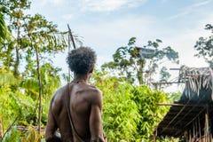 O Papuan de um tribo de Korowai, vive nas casas construídas em árvores Em Koroway tradicional do fundo uma casa empoleirou-se em  Fotografia de Stock