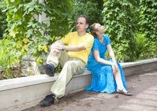 O par feliz novo senta-se nos verdes retorcidos mandril Imagem de Stock Royalty Free