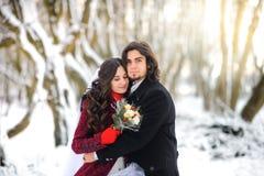 O par novo bonito no parque da neve, o noivo abraça delicadamente a noiva que está sobre é mais escarlate no parque velho imagens de stock