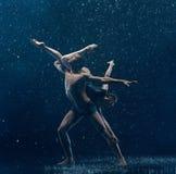 O par novo de dançarinos de bailado que dançam o rwater do unde deixa cair Fotos de Stock Royalty Free