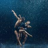 O par novo de dançarinos de bailado que dançam o rwater do unde deixa cair Imagem de Stock