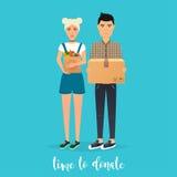 O par novo faz doações Caixas da doação do alimento e da roupa ilustração do vetor