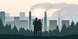 O par olha a cidade e a poluição do sentido pela indústria ilustração do vetor