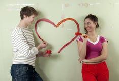 O par pinta o coração Foto de Stock Royalty Free
