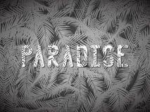 O PARAÍSO da inscrição em folhas de palmeira Imagens de Stock