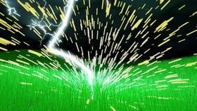 O parafuso da iluminação golpeia um campo da grama com voo das faíscas ilustração royalty free