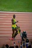 O parafuso de Usain comemora o record mundial novo Imagens de Stock Royalty Free