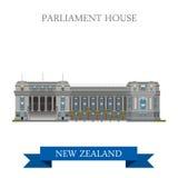 O parlamento abriga a atração lisa do vetor de Wellington New Zealand ilustração stock