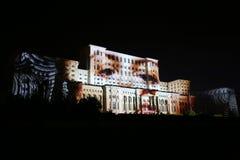O parlamento abriga - a projeção do vídeo 3D Fotografia de Stock