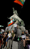 O parlamento do protesto de Bulgária Foto de Stock