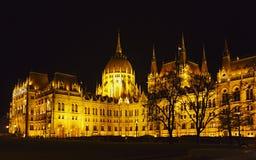 O parlamento húngaro na noite Fotos de Stock