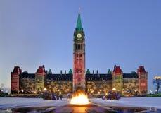 O parlamento nevado Fotografia de Stock