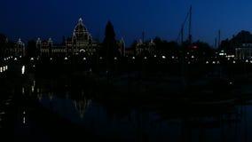 O parlamento que constrói a noite de Victoria Canada video estoque