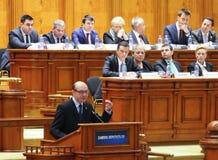 O parlamento romeno - movimento de nenhuma confiança contra o governo imagens de stock