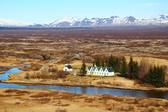 O parlamento situa no parque nacional de Pingvellir Fotografia de Stock Royalty Free
