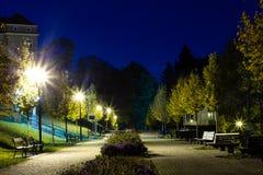 O parque da cidade no cenário da noite com um lugar para descansar a paisagem da cidade da noite estaciona na primavera Bancos, t imagens de stock royalty free