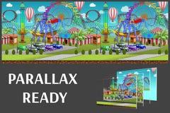 O parque de diversões sem emenda dos desenhos animados, paisagem do verão, vector o fundo infinito com camadas separadas Imagem de Stock Royalty Free