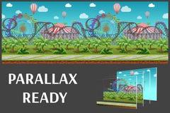 O parque de diversões sem emenda dos desenhos animados, paisagem do verão, vector o fundo infinito com camadas separadas Imagem de Stock