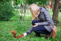 O parque, menina que alimenta um esquilo vermelho. Fotos de Stock Royalty Free