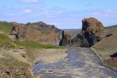 O parque nacional de Jökulsárgljúfur Imagens de Stock