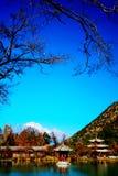 O parque preto da associação do dragão sob Jade Dragon Snow Mountain imagens de stock royalty free