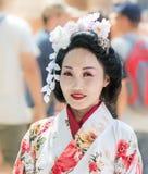 O participante do festival no vestido tradicional da mulher japonesa no Jerusalém do ` do festival do anuário Knights o ` imagens de stock royalty free
