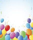 O partido Balloons a beira do Confetti Foto de Stock