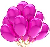 O partido balloons a cor-de-rosa colorida translúcida. ilustração stock
