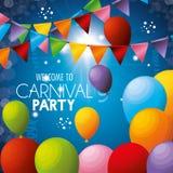 O partido bem-vindo do carnaval balloons festões das cores Imagens de Stock Royalty Free