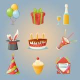 O partido comemora a ilustração realística do vetor do projeto dos desenhos animados dos ícones do aniversário e do grupo de símb Imagens de Stock