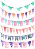 O partido da aquarela ajustou-se sob a forma da festão das bandeiras Imagem de Stock