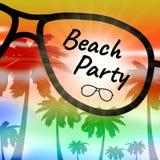 O partido da praia representa vai na licença e nas praias ilustração stock