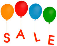 O partido da venda balloons - a propaganda etc., fundo branco Fotografia de Stock