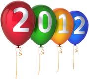 O partido do ano 2012 novo balloons multicolor ilustração stock