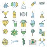 O partido e a celebração alinham e enchem ícones isolados do vetor ilustração do vetor