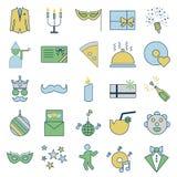O partido e a celebração alinham e enchem ícones isolados do vetor ilustração royalty free