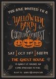 O partido e o traje de Dia das Bruxas da tipografia contestam o cartão do convite Imagem de Stock Royalty Free