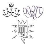 O partido etiqueta Doodle-02 ilustração do vetor