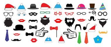 O partido retro do Natal ajustou - vidros, chapéus, bordos, bigodes, máscaras ilustração stock