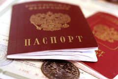 O passaporte do cidadão de Rússia Foto de Stock