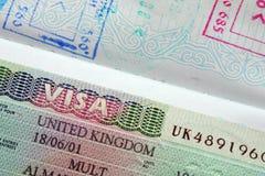 O passaporte, visto, carimba Imagem de Stock