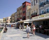 O passeio, a cidade de Rethymno, Creta Foto de Stock