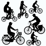 O passeio da bicicleta mostra em silhueta o vetor Foto de Stock