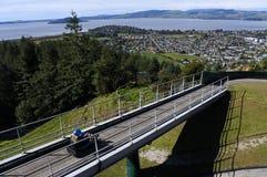 O passeio da mulher na skyline Rotorua Luge Imagens de Stock Royalty Free