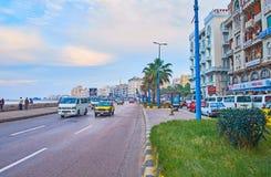 O passeio do beira-mar de Alexandria, Egito fotografia de stock