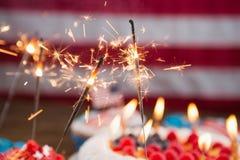 4o patriótico do bolo e do queque de julho Imagem de Stock